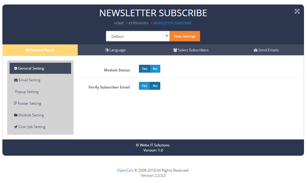 newslettersubscribe general setting