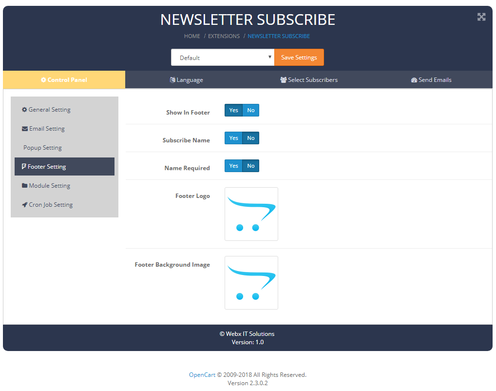 newslettersubscribe footersetting