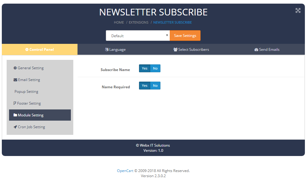 newslettersubscribe modulesetting