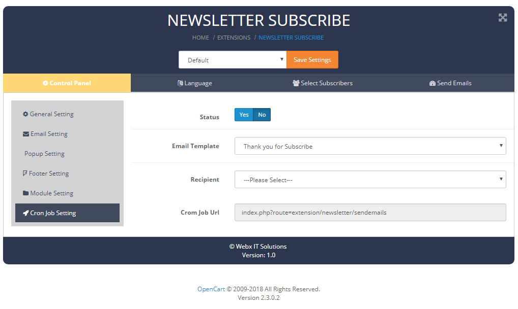 newslettersubscribe cornjobsetting